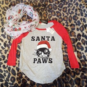 NWT Girl's Kitty Christmas Shirt & Scarf